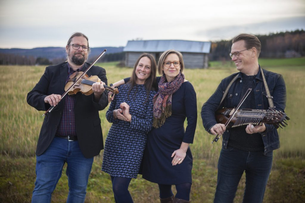 Breda gatan, consisting of folk singers Emma Härdelin and Johanna Bölja Hertzberg, fiddle player Kjell-Erik Eriksson, and Ola Hertzberg on nyckelharpa (keyed fiddle).